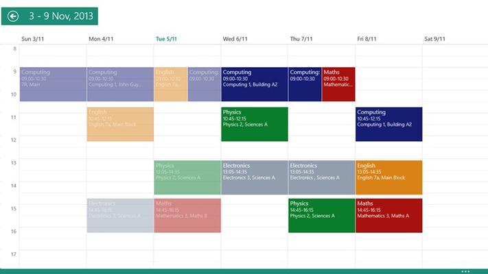 The calendar week view