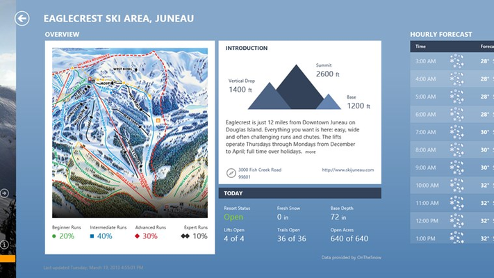 View the trail map, current snow conditions for ski resorts