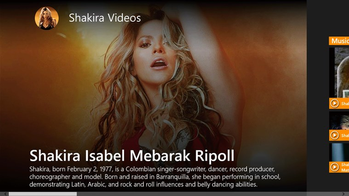 Shakira Videos for Windows 8