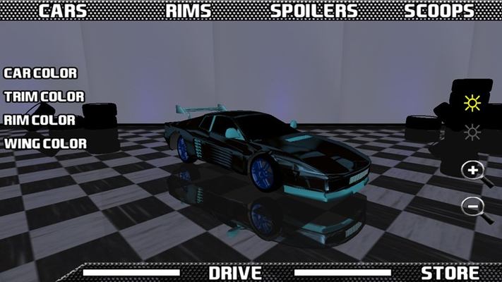 Customizing a black car with a blue rim and spoiler.