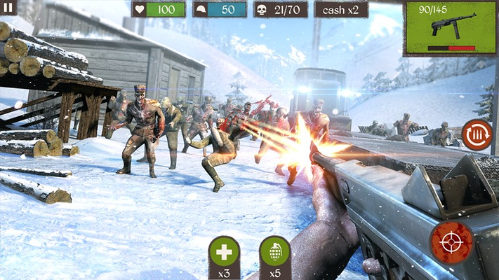 Shoot your way through zombie filled battlefields