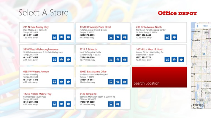 Customers can search for stores in their area and see store information.
