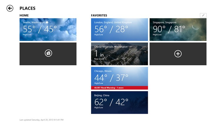 Customize to see weather for the places you care about.