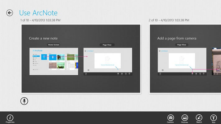 Page list view displays all pages in a note group.