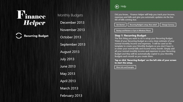 Finance Helper for Windows 8