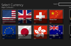 Currency selection page
