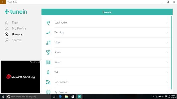 TuneIn Radio for Windows 8