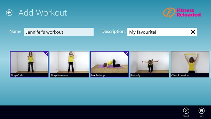 Create custom workout by selecting the exercises you want.