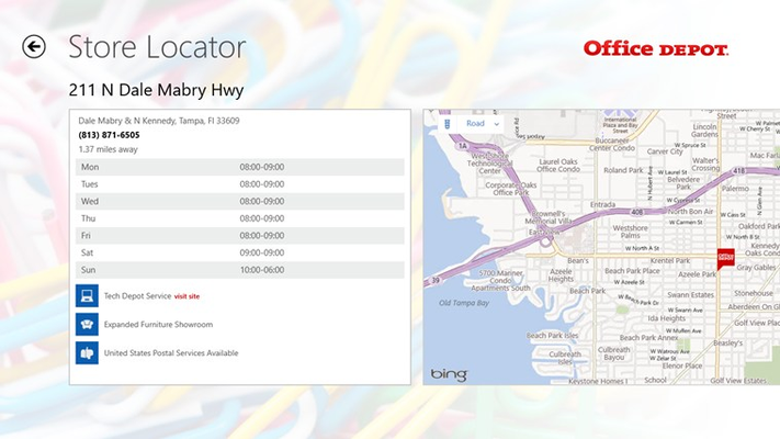 Customers can view store hours, get directions, and view other services offered.