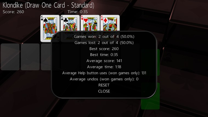 Statistics are available for each solitaire in your collection individually