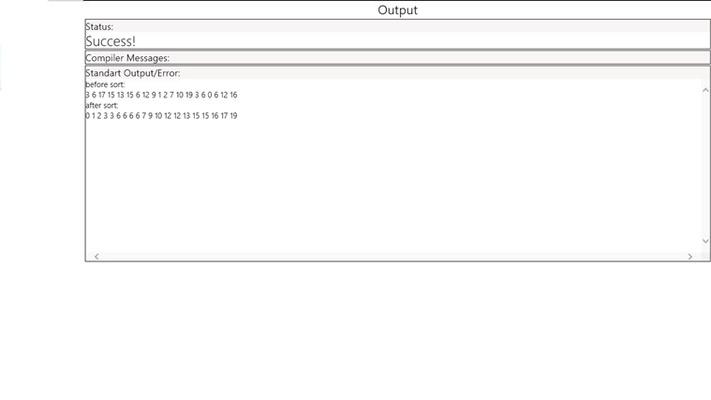 View program compile/execution output.