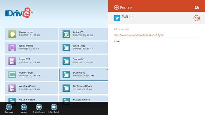 Share a file or a folder via Windows 8 'People' app