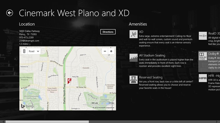 cinemark theatres for windows 8 and 81