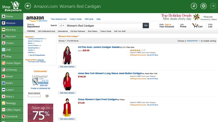 We start our shopping experience at Amazon.com.