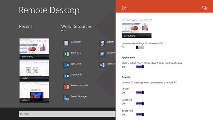 Remote Desktop for Windows 8
