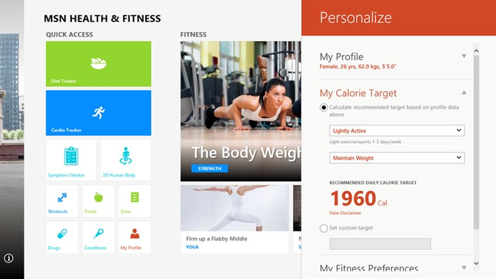 Personalize your app based on your fitness and nutritional goals