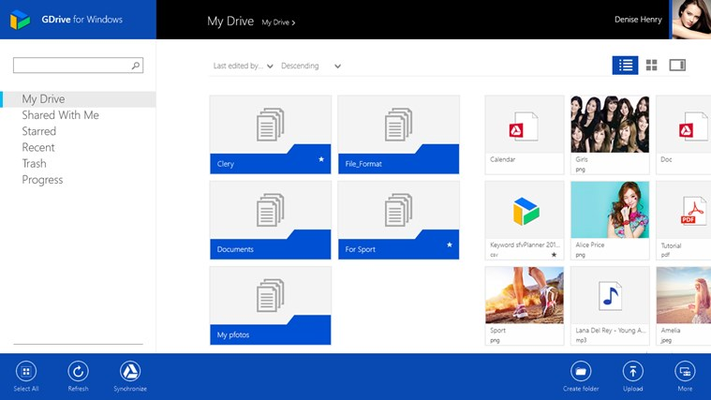 GDrive for Windows allows to share, open, edit, synchronize and upload files