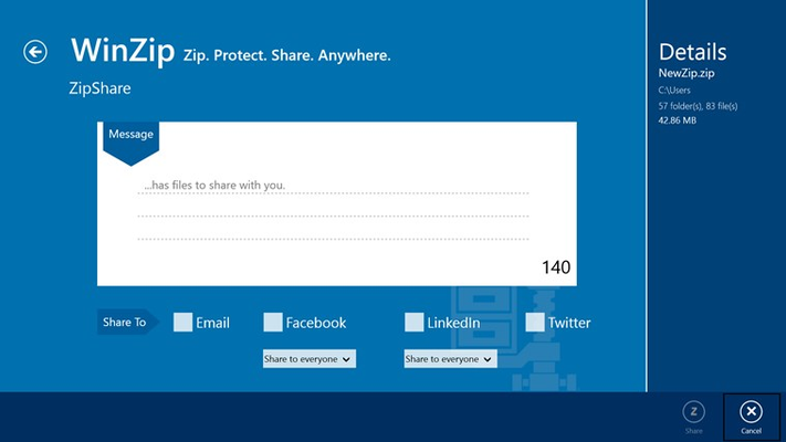 Easily share files or entire folders, even very large ones, to Facebook, LinkedIn, Twitter or email.