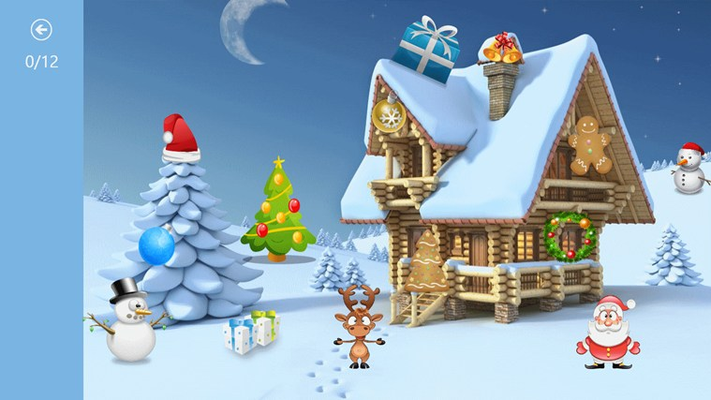 Help Santa and his reindeer find Christmas items
