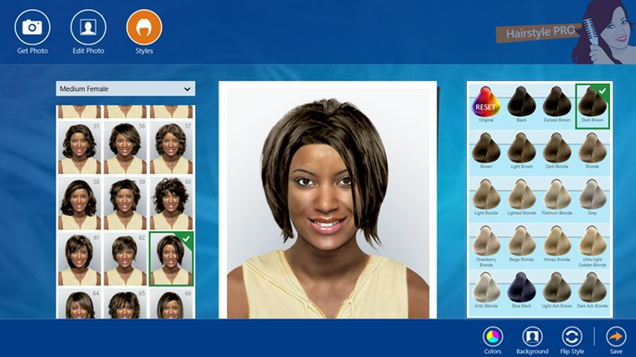 You can change the color of all hairstyles. Select a color among more than 50 natural hair colors.