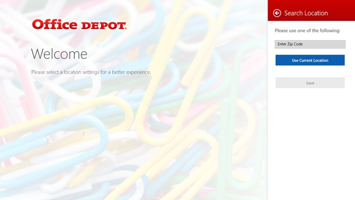 Welcome screen greets customers and asks them to enter a zip code or allow Office Depot to use their location.
