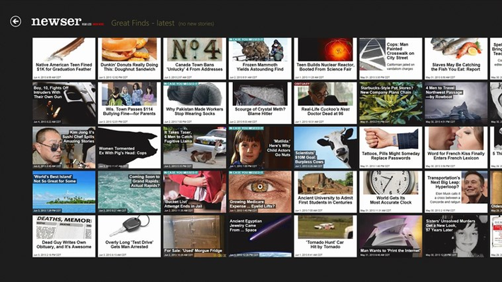 """Grid page showing """"Great Finds"""" section of stories."""