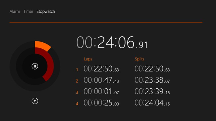 Use the stopwatch to keep track of laps and splits