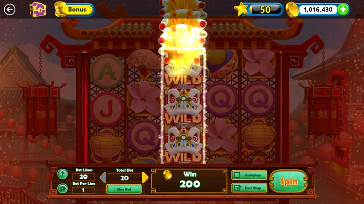 Stack multiple wilds in the bonus lion dance!