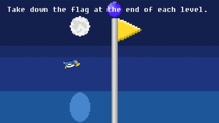 Take down the flag on each level.