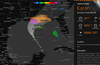 Optional hurricane feature displays current storm details and projected storm path