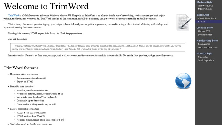 """Full render mode, with the theme picker open.  This screenshot uses the """"Roman"""" stylesheet."""