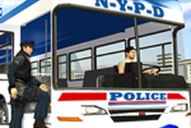 Police Bus Staff Duty Transport 3D - Pick and Drop