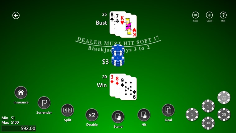 blackjack double down rules