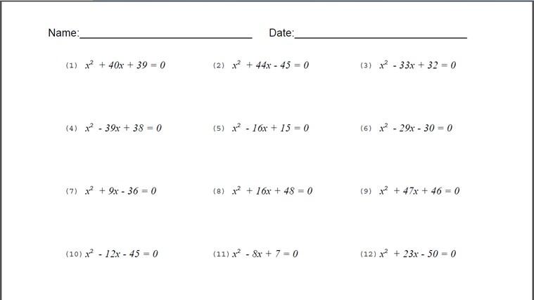 Quadratic-formula-worksheet & ... Worksheet Page 1 The Solving ...