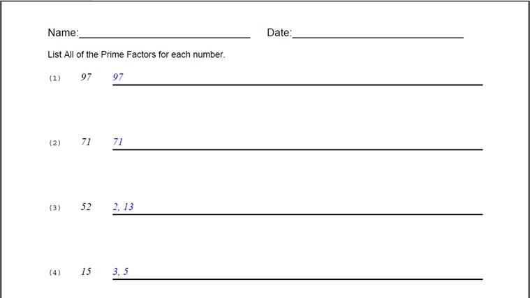 Prime Factors Worksheet for Windows 8 and 81 – Prime Factorization Worksheet