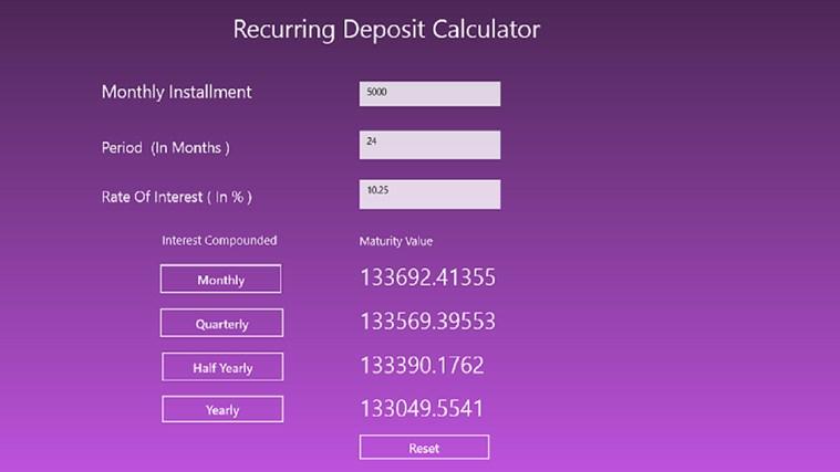 Maturity value calculator