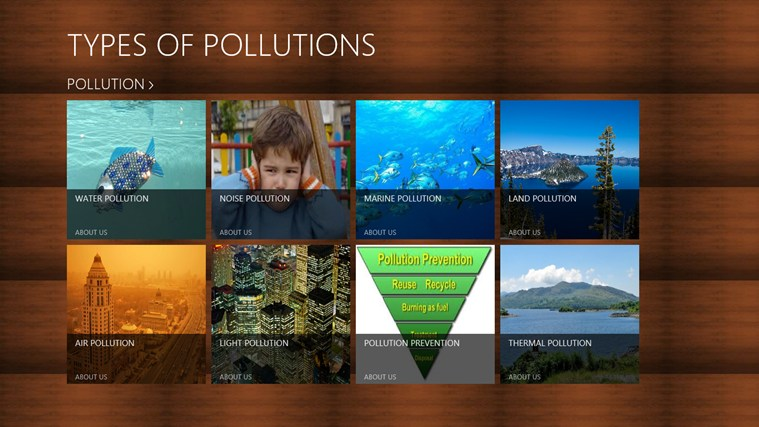 TYPES OF POLLUTIONS for Windows 8 and 8.1