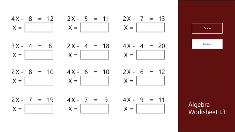 Algebra Worksheet L3 for Windows 8 and 81 – Algebra Worksheet