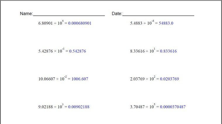 Powers Of Ten Worksheet for Windows 8 and 81 – Powers of Ten Worksheet