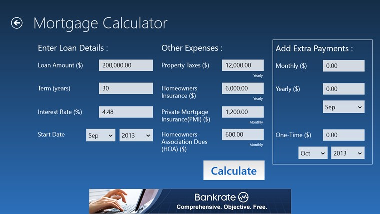 Bankrate mortgage loan calculator with amortization