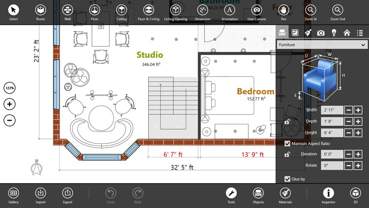Live interior 3d pro for windows 8 and 8 1 Flooring design app