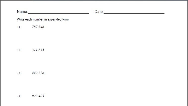 Expanded Form Worksheet for Windows 8 and 81 – Expanded Form Worksheet