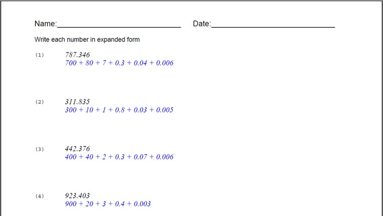 Expanded Form Worksheet for Windows 8 and 8.1