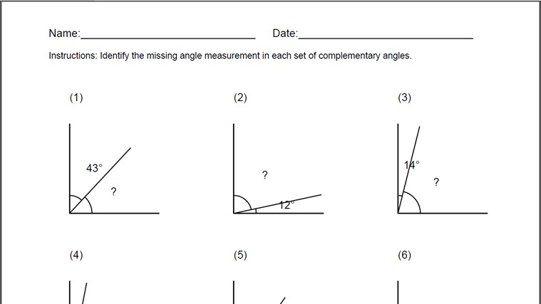Complementary Angles Worksheet for Windows 8 and 8.1