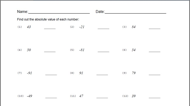 Printables Absolute Values Worksheet absolute value worksheet for windows 8 and 1 generated worksheet