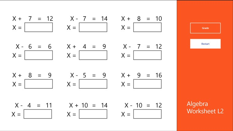 Algebra Worksheet L2 for Windows 8 and 8.1