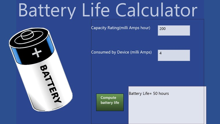 Battery Amp Hour Chart : Battery life calculator for windows and