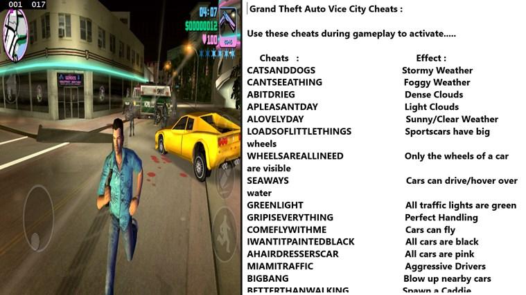 gta vice city game all cheats pdf