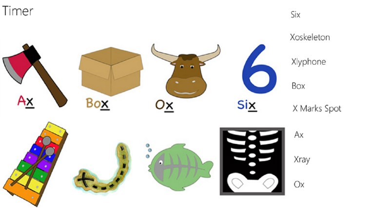 Worksheets Pictures That Start With X alphabet matching x for windows 8 and 1 drag the name to image
