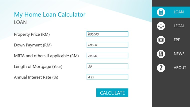 malaysia home loan calculator for windows 8 and 8 1